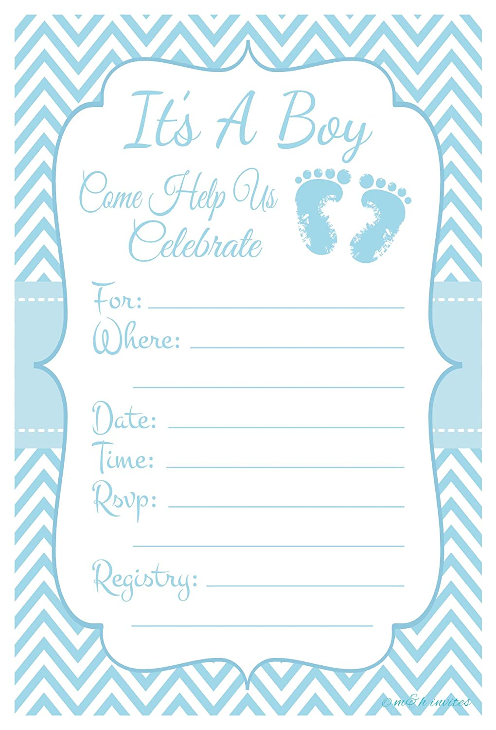 Amazon.com: Blue Baby Feet - Boy Baby Shower Invitations - Fill In ...