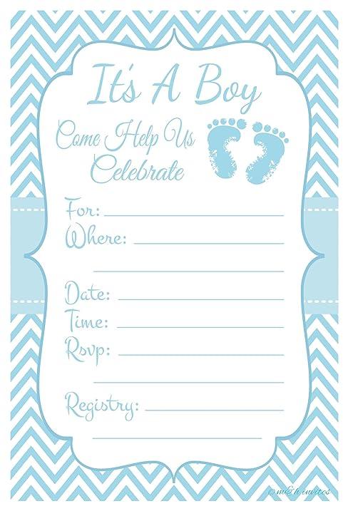 Amazoncom Blue Baby Feet Boy Baby Shower Invitations Fill In