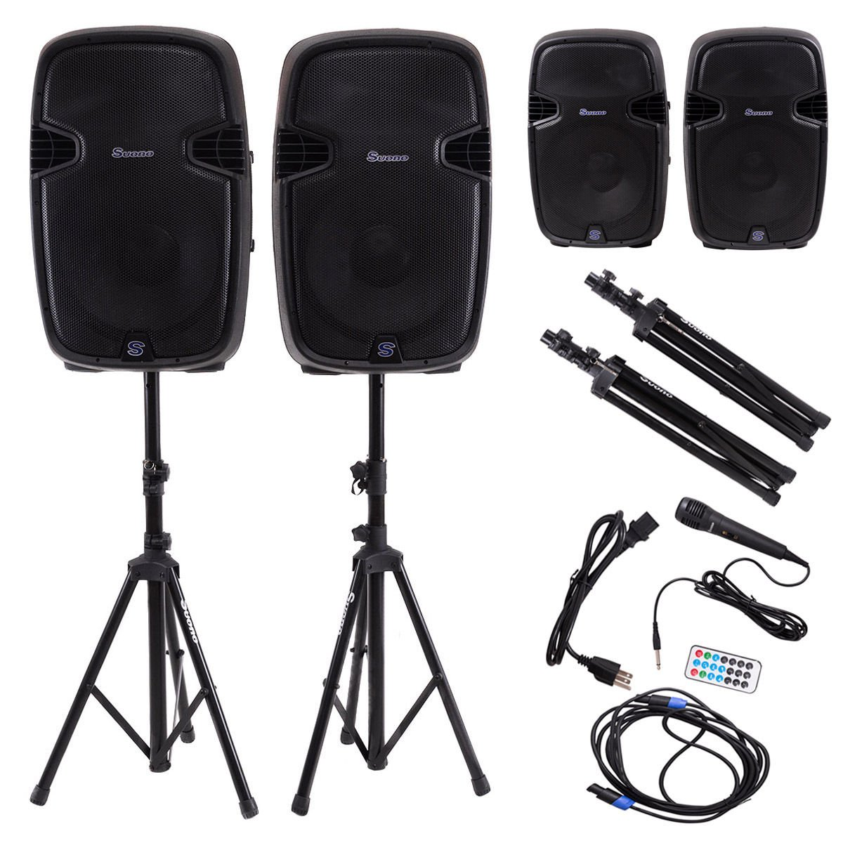 Costway 15-Inch 3000W 2-way Powered Speakers w/ Bluetooth, Mic, Speaker Stands and Control