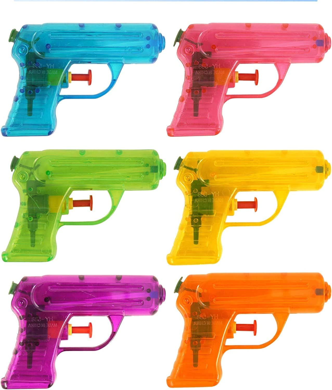 KINPARTY ® 6 x Pistolas de Agua Transparente, Cumpleaños, Fiestas en la Piscina Aire Libre