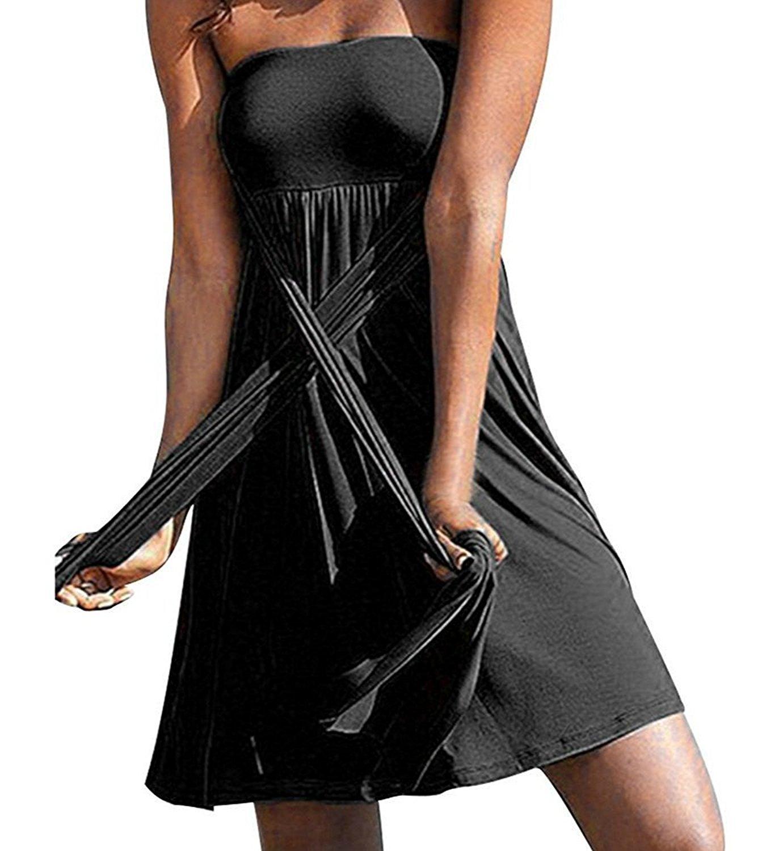 Little Hand Women's Beach Dress Stretchy Cover up One Piece Swimsuit Halter Bandeau Bikini Balck XL