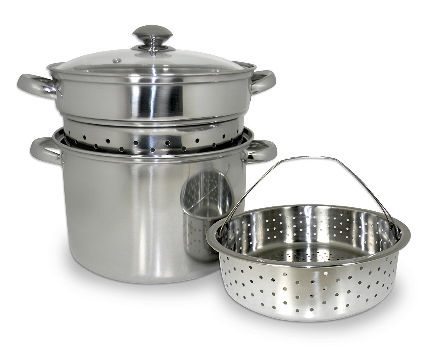 ExcelSteel 20 Qt Multifunction Stainless Steel Pasta Cooker with Encapsulated Base, Vented Glass Lid, and Riveted Handles