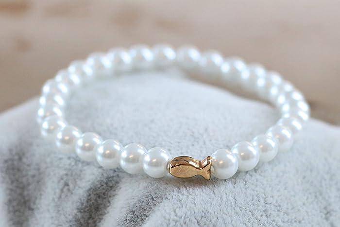 Armband Fisch Silber Mädchen Kommunion Perlen Geschenk Kind