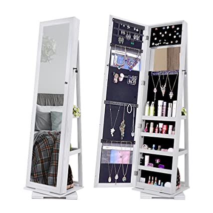 NEX 360 Degree Rotatable Jewelry Cabinet With Full Length Mirror Lockable  Standing Armoire Organizer