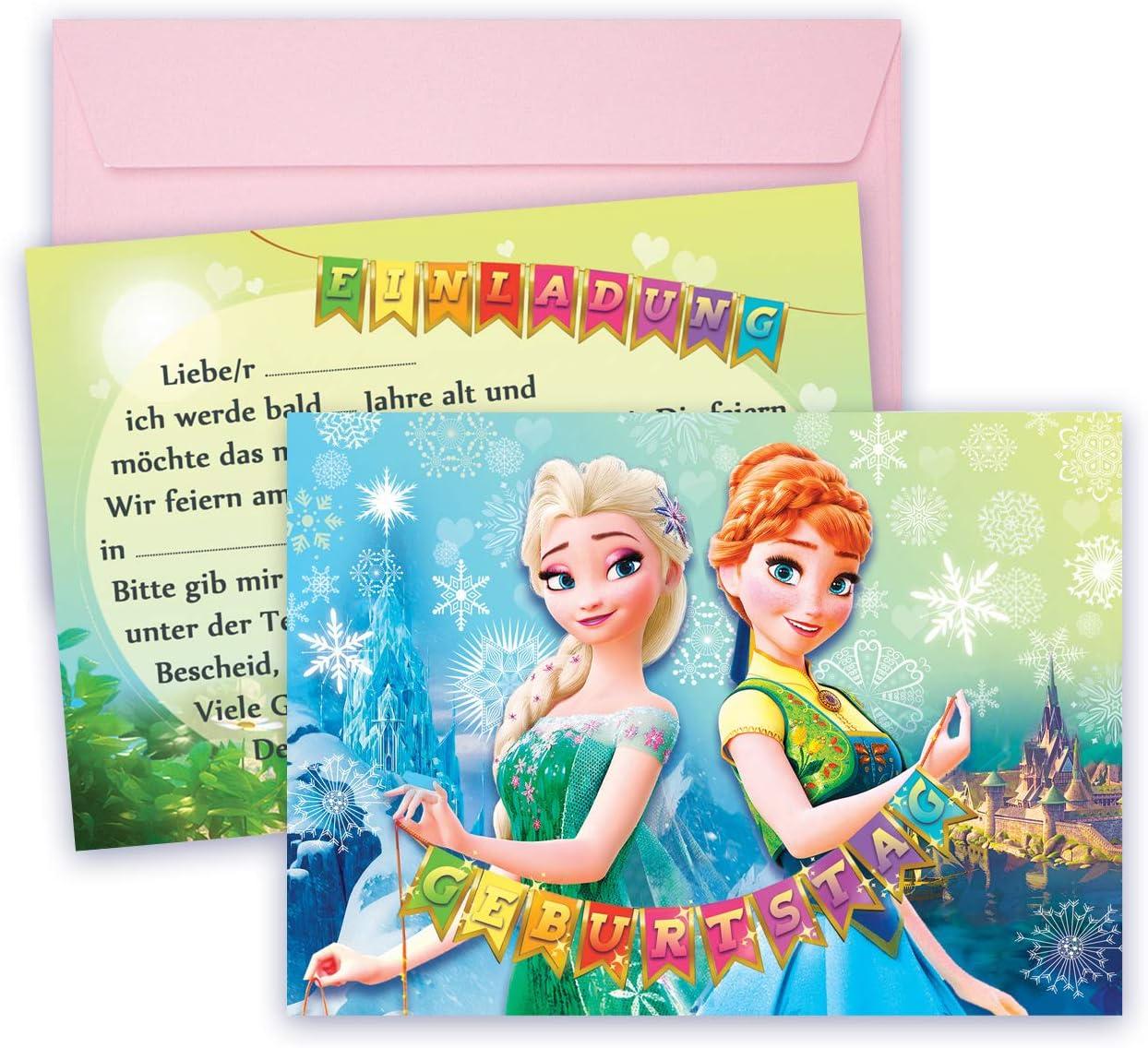 Disney Frozen 6 Einladungen mit Umschlag Party Karten Einladung Die Eiskönigin