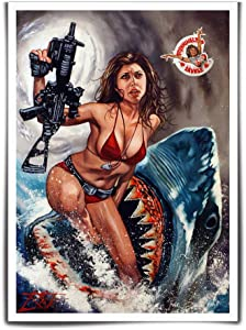 FINDEMO Halloween Horror Sharknado Painting Canvas Art Poster Wall Art Picture Print Modern Family Bedroom Decor Posters #163 (Unframed,12x18(inch))
