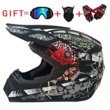 Sanqing Motocross helmet,Full Face Off Road Motocross Quad Crash Helmet ECE Downhill Dirt Bike MX ATV Adult Motorbike Helmet Gloves Goggles Mask 4 Piece Set