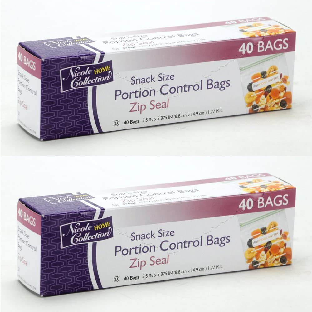 Nicole Home Collection Zip Seal Portion Control Bags – Snack Size – 2 Packs 80 Bags Total