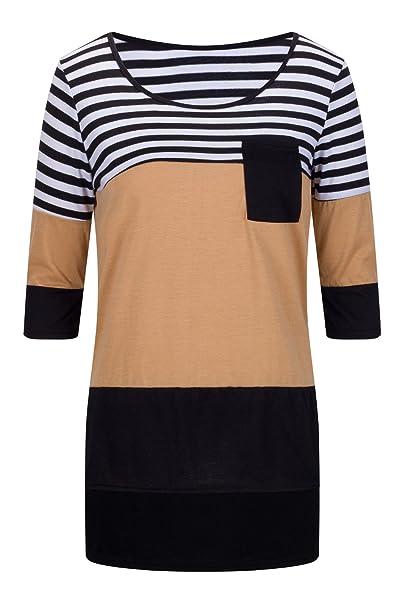Beauty7 ES 40 Camisetas Mujeres Casual Rayas Patchwork Cuello Redondo Mangas Larga Blusas Loose T-