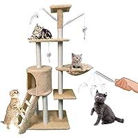 HANAYI - Árbol para gatos y gatos de 137,9 cm con escalera de sisal, postes para arañar, hamaca de felpa, juguetes para…