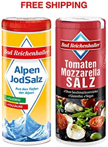 Tomato-Mozzarella Salt with Iodine and Folic Acid 90 g + Iodized Table Salt with Fluoride 125 g, Bad Reichenhaller / Germany