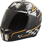 Steelbird Racer SBA-1 Helmet with Plain Visor (Matt Black and Orange, L)
