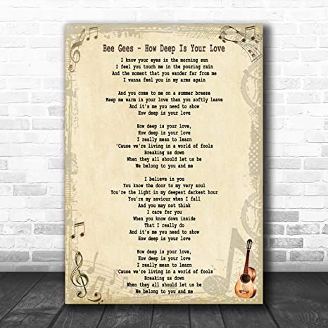 Amazon.com: How Deep is Your Love Song Lyric Quote Print ...