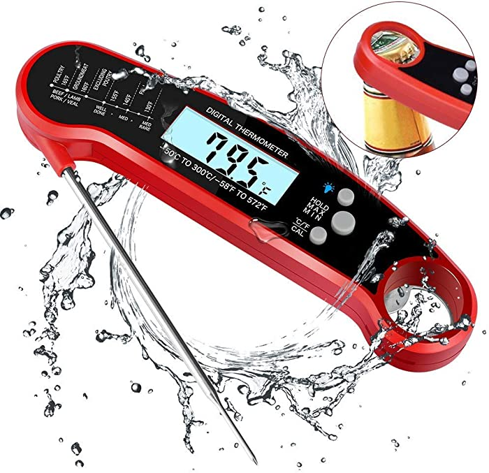 Waterproof Digital Instant Read Meat Thermometer Folding Probe Calibration Function for Cooking Food Candy, BBQ Grill, Calibration Bottle Opener for Kitchen (red)
