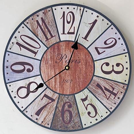 Retro estilo de madera diseño reloj de pared reloj de cocina ...