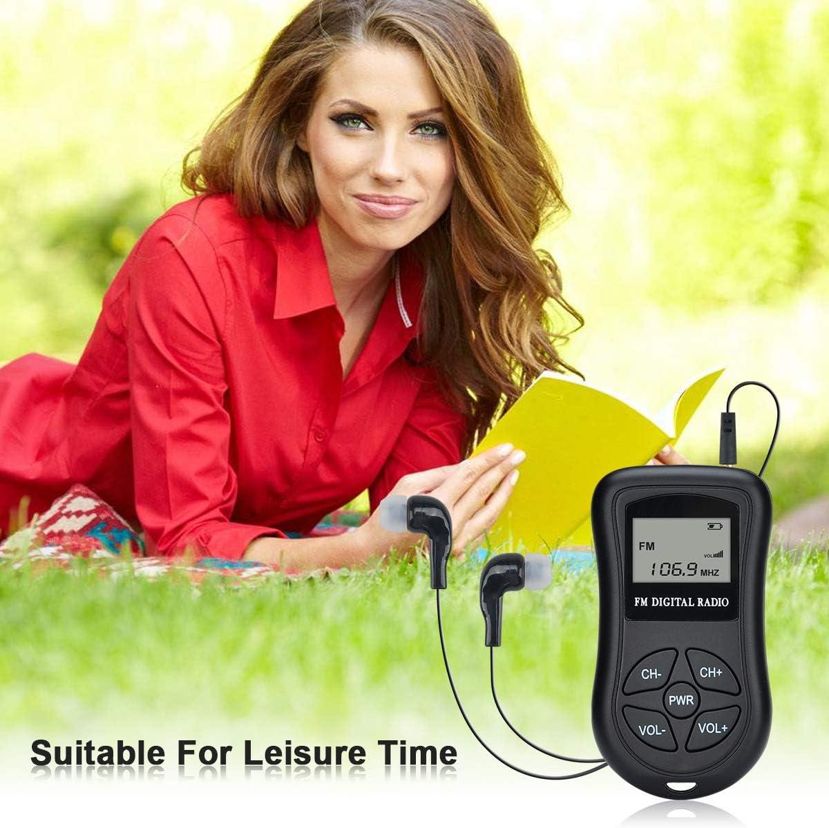 FM Pocket Radio Sdirniy Portable Digital Radio Alarm Clock Mini Digital Tuning Stereo Radio Receiver with 3.5mm Headphone Jack Operated by 2 AAA Battery for Senior
