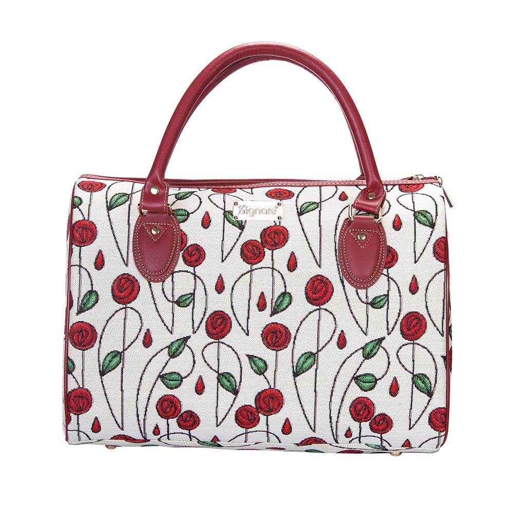 Mackintosh Rose Travel Bag by Signare/Designer Floral Weekend Carry-On Flight Art Top-Handle Luggage/TRAV-RMSP