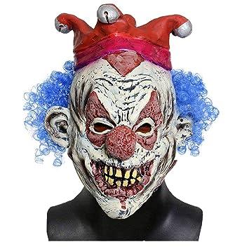 Jonami Máscara Payaso Asesino con Cabello, Mascara Halloween Terror de Látex, Traje Espeluznante para Disfraz Adulto de Fiesta Horror