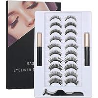 Magnetic False Eyelashes Set with Magnetic Liquid Eyeliner & 10 Pairs Magnetic False Eyelashes Black Magnetic Fake…