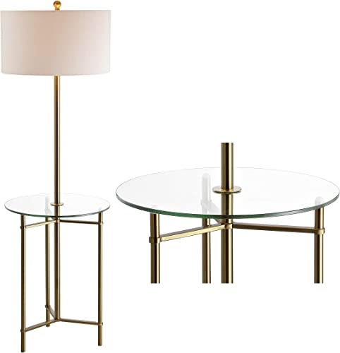 JONATHAN Y JYL3059A Charles 59″ Metal/Glass LED Side Table and Floor Lamp Contemporary,Transitional