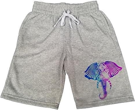 Mens Tribal Galaxy Elephant B151 Gray Fleece Jogger Sweatpants Gym Shorts