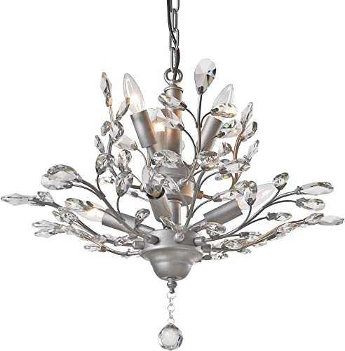 SEOL-LIGHT Vintage Crystal Branch Chandeliers Sliver Grey Pendant Hanging Light Ceiling Fixture