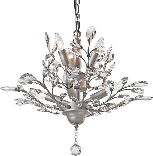 SEOL-LIGHT Vintage Crystal Branch Chandeliers Sliver Grey Pendant Hanging Light Ceiling Fixture
