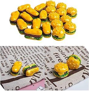 Acxico 20Pcs Mini Dollhouse Food Hamburger Miniatures Double Cheese Burger DIY Round And Long