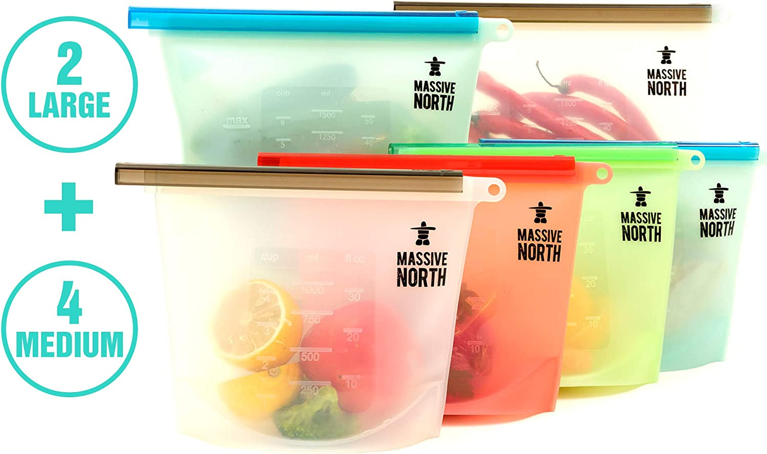 Reusable Silicone Food Storage Bags from Massive North - Home and Camping Food Preservation - Resealable Slide-Bar-Ziplock to Keep Food Fresh - 6 pack - 2 Large 50 oz, 4 Medium 30 oz - Eco Friendly