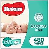 Huggies Fragrance Free Baby Wipes Bundle Pack (Pack of 480), (3 x 2 x 80 Pack), Packaging May Vary