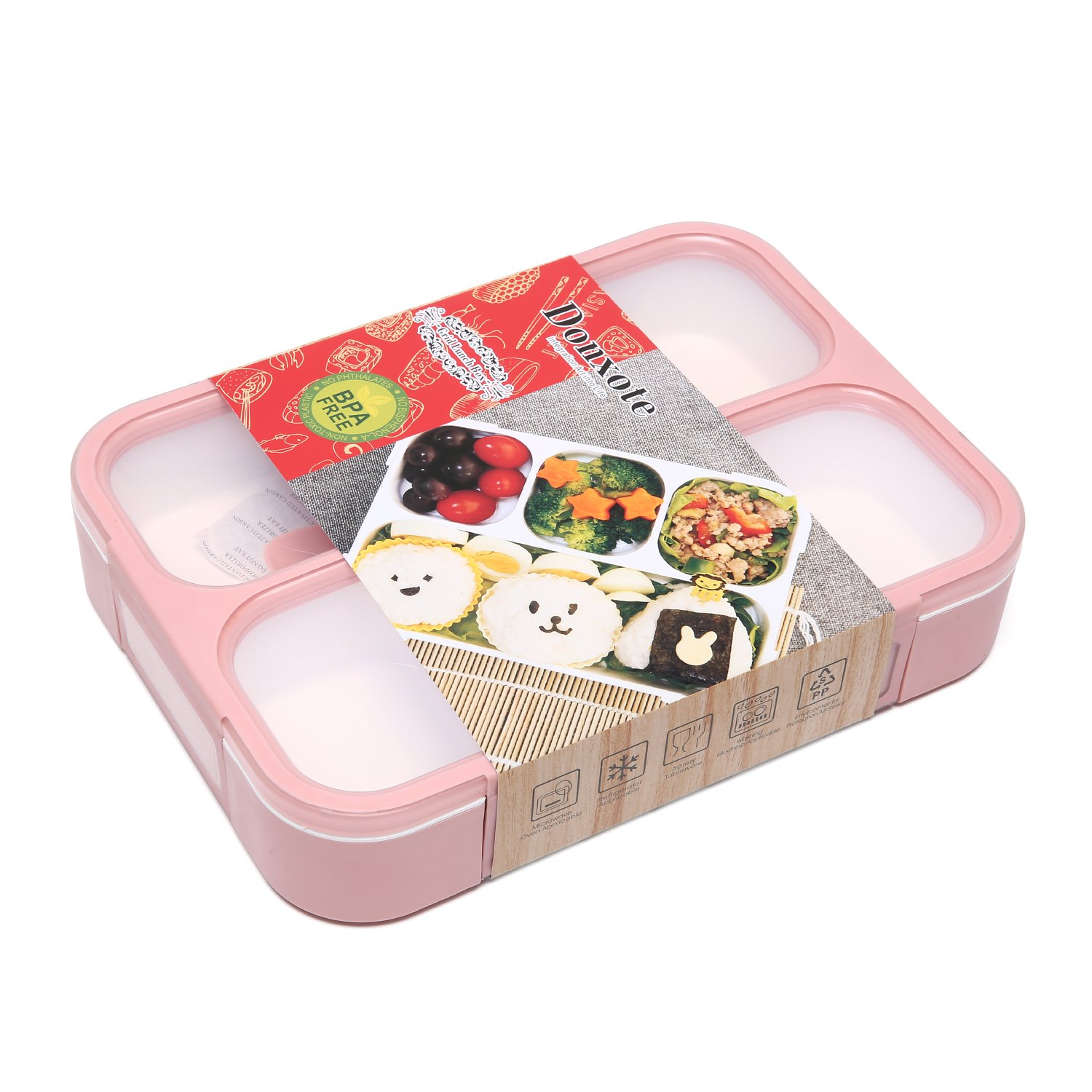 Donxote Lunch Bento Box Leak-Proof Sealing Food Container - 4 Compartments With a Spoon - BPA-free Microwave-Safe Boxes (Green) COMIN18JU048914