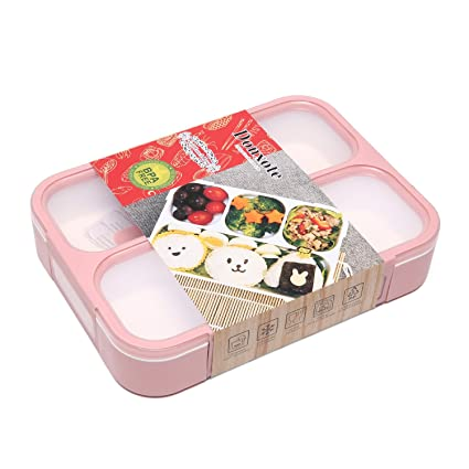 a1a3f1b3370 Amazon.com  Donxote Lunch Bento Box Leak-Proof Sealing Food Container - 4  Compartments With a Spoon - BPA-free Microwave-Safe Boxes (Pink)  Kitchen    Dining