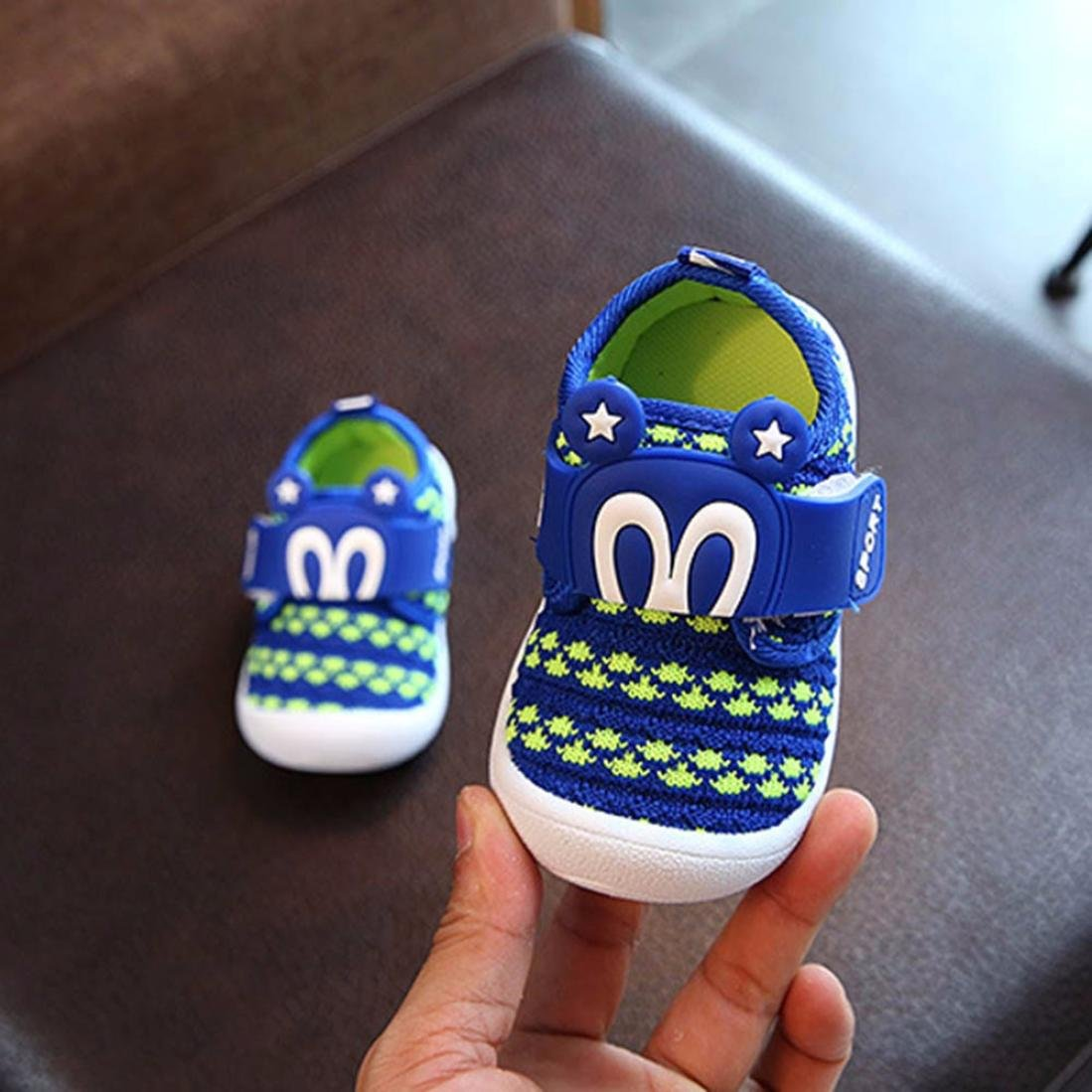 Efaster Childrens Cartoon Rabbit Ears Star Toddler Shoes Sound Mesh Shoes