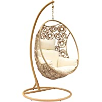 Havana Hanging Egg Chair, Sand with Cream Cushions - Egg Chairs - Bay Gallery Furniture