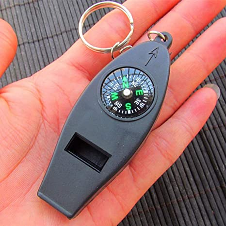 4 In 1 Outdoor Survival Whistle Compass Magnifying Thermometer /& Keychain E TDUK