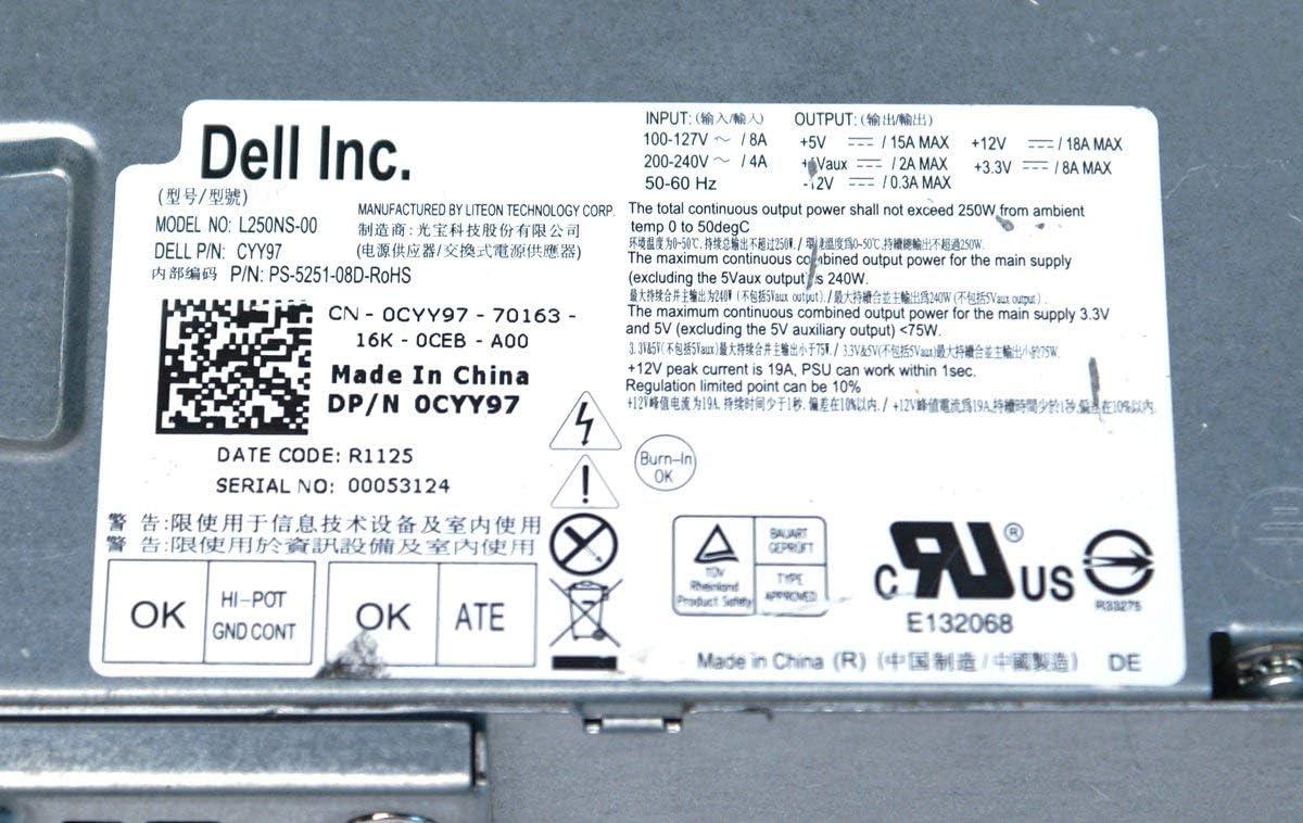 Dell 7GC81 Optiplex 390 790 990 DT 250W Power Supply H250AD-00 D250A005L