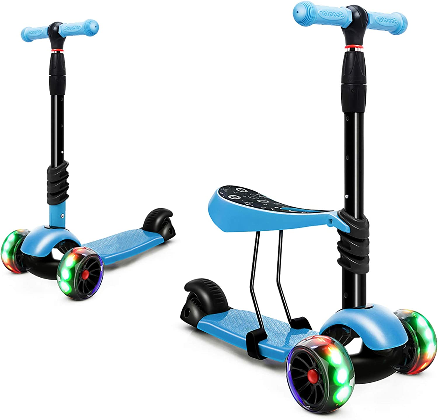 Kick Scooter Kids Scooter 4 Wheel Scooter Boys Girls,Green 3 Height Adjustable Pu Wheels Extra Wide Deck Best Gifts for Kids