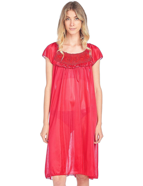 Casual Nights Women's Cap Sleeve Flower Silky Tricot Nightgown Tricot Nightgown Lounger