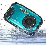 PowerLead 2.7インチ液晶カメラ16MPデジタルカメラ水中10m防水カメラ+ 8倍ズーム (ブル)