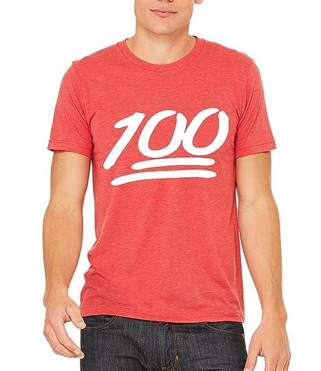 e9ce4cd2 Interstate Apparel Inc Men's White 100% Emoji Red Tri Blend T-Shirt Small  Red