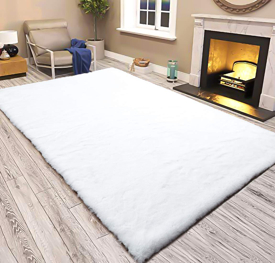 LOCHAS Ultra Soft Faux Fur Rugs for Bedroom Fluffy Rug 4 x 6 Feet, Shaggy Bedside Rugs Living Room Carpets for Kids Girls Floor Mat, Machine Washable, White