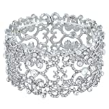 Amazon Price History for:EVER FAITH Women's Crystal Bride Heart Art Deco Elastic Stretch Bracelet Clear Silver-Tone