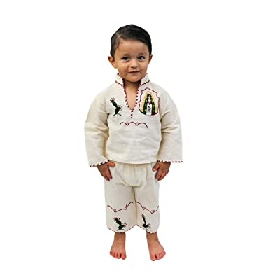 Traje de Juan Diego Guadalupana Hand Embroidered Suit for Boys: Clothing