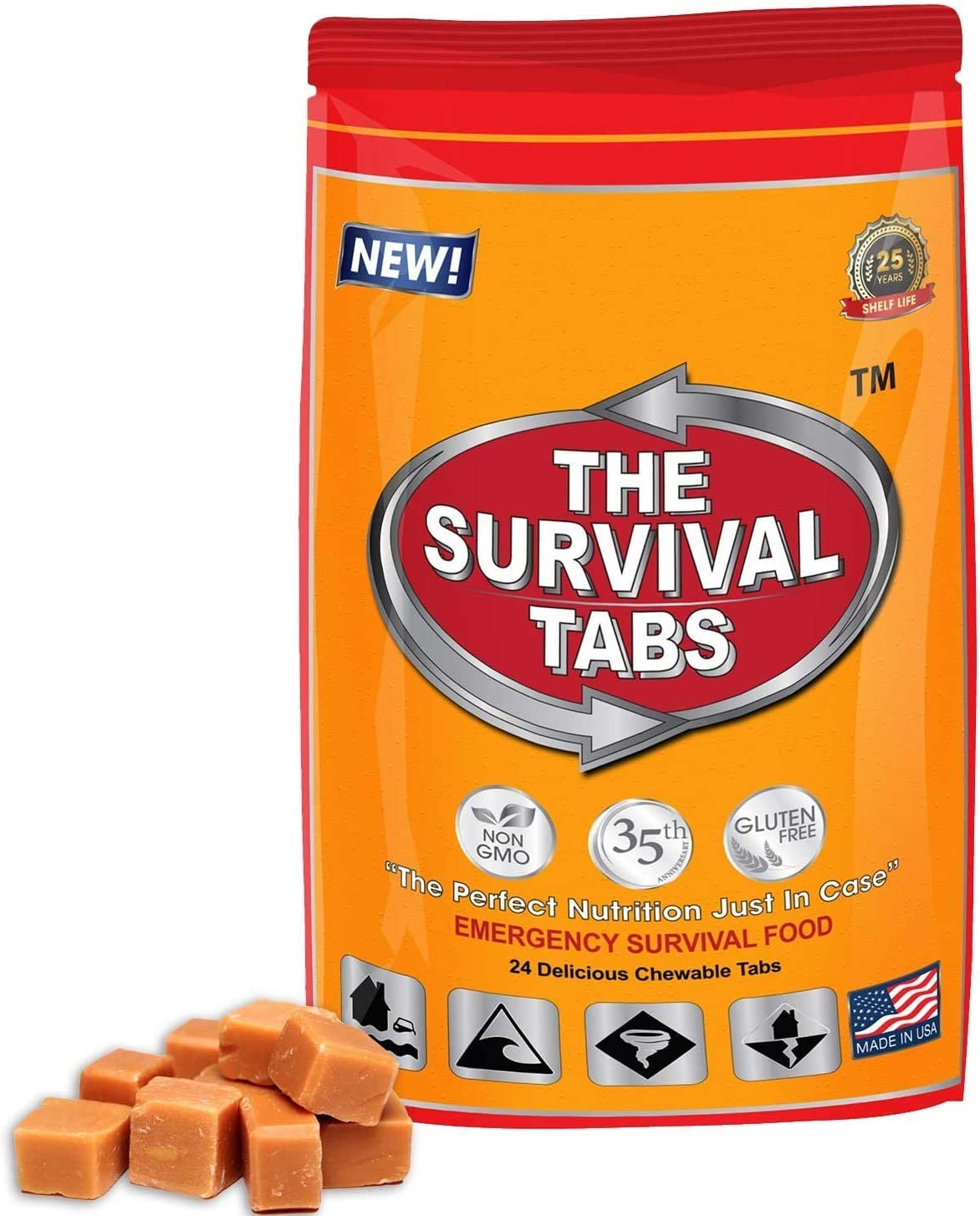 Survival Tabs - 2-Day Food Supply - Emergency Survival Food MRE for Outdoor Activities Gluten-Free, Non-GMO The Survival Tabs 25 Years Shelf Life (24 Tablets/Butterscotch)