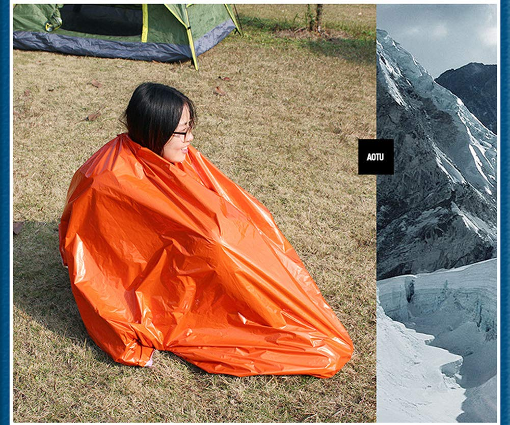 Easy Discovered/&Rescued Hiking Climbing Suits for Camping Emergency Foldable/&Reusable Thermal PE Traveling AOTU Emergency Blanket//Bag//Tent of Emergency Kit