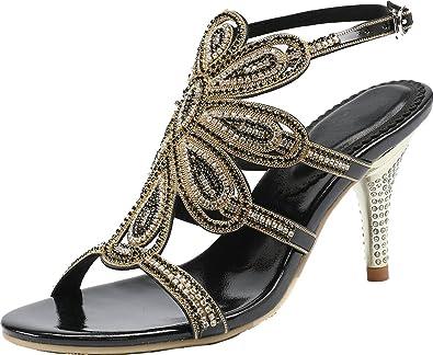 L049 Womens Roman High-Heeled Open Toe Ankle Strap Sandals Glaring Rhinestone Beautiful Pretty Wedding Dress Bride Bridemaid Party Work Job Leisure Shoes