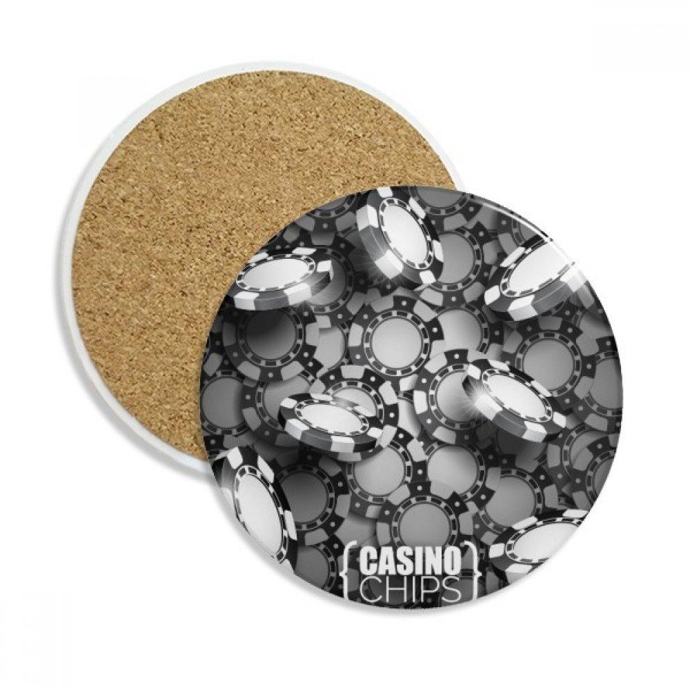 Many Chips カジノイラスト パターン セラミック コースター カップ マグホルダー 吸収ストーン ドリンク用 2個 ギフト   B0761J8QTP
