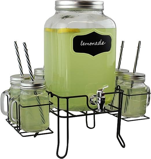 Dispensador de Bebidas de cristal grande de 4 L con 4 Tarros mason Gafas Rack Soporte De Metal