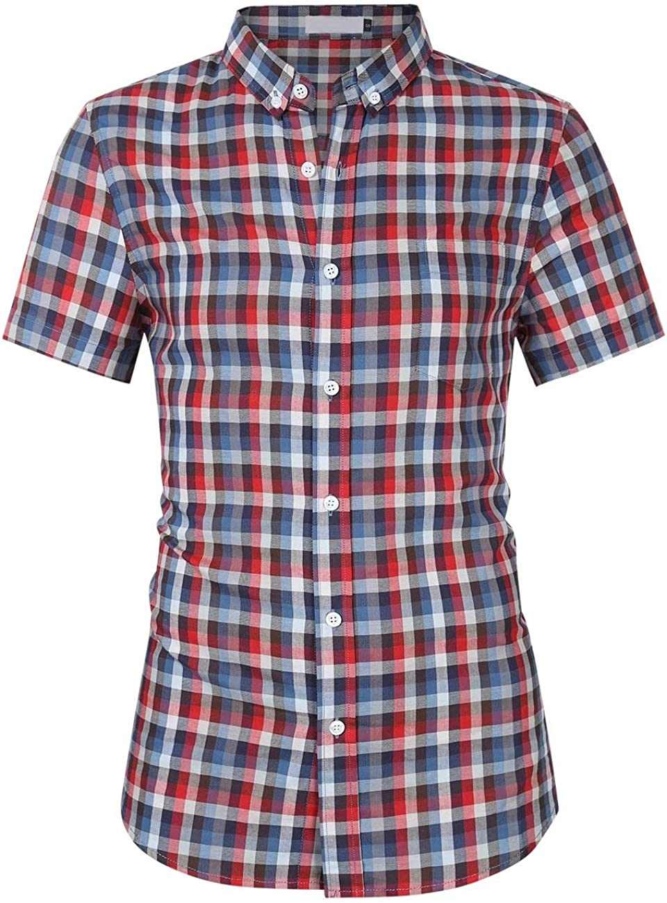 Fieer Mens Cotton Oversize Short Sleeve Turn-Down Collar Casual Dress Shirts