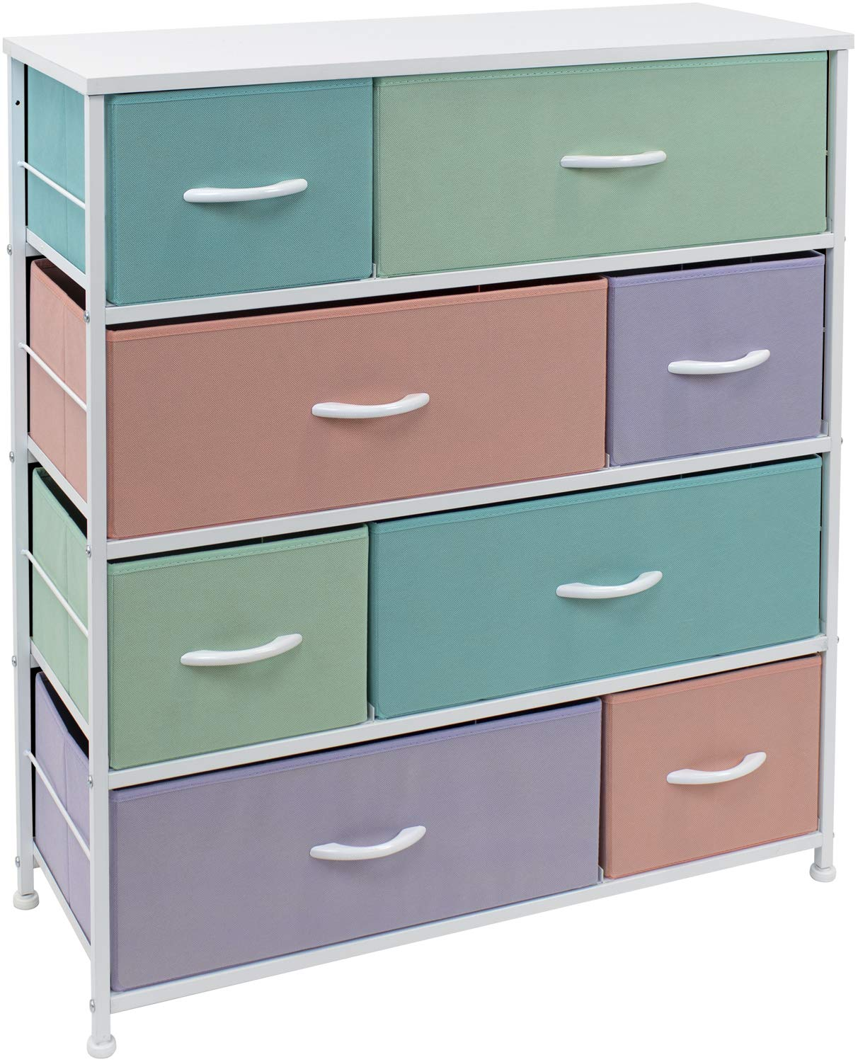 Sorbus Dresser with 8 Drawers - Bedside Furniture & Night Stand End Table Dresser for Home, Bedroom Accessories, Office, College Dorm, Steel Frame, Wood Top (Pastel)
